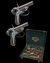 DEVISME, PARIS AN EXCEPTIONALLY RARE CASED PAIR OF 20-BORE PERCUSSION RIFLED POCKET-PISTOLS, MODEL 'DEVISME PATENT', no visible seri.