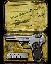 FABRIQUE NATIONALE, BELGIUM A SCARCE CASED 7.65mm (.32 ACP) SEMI-AUTOMATIC PISTOL, MODEL 'BROWNING 1900', serial no. 330405,