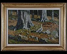 JOHN TRICKETT A WOODLAND SCENE OF FOX AND PHEASANT,