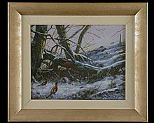 JOHN TRICKETT A WINTER SCENE OF PHEASANTS IN THE SNOW,