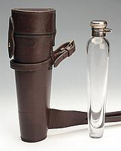 A LEATHER CASED HUNTING SADDLE DRINKING FLASK,