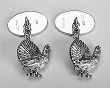 A PAIR OF A STIRLING SILVER CAPERCAILLIE CUFFLINKS,