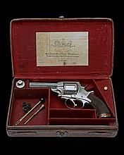 W. TRANTER, BIRMINGHAM A RARE CASED .500 (BOXER) FIVE-SHOT DOUBLE-ACTION REVOLVER, MODEL 'FLAT END RECESSED EJECTOR', serial no 3839.