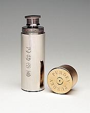 † JAMES PURDEY & SONS A NEW AND UNUSED PEWTER CARTRIDGE FLASK,