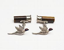HOLLAND & HOLLAND A PAIR OF STERLING SILVER AND TIGER'S EYE 'CARTRIDGE & PHEASANT' CUFFLINKS,