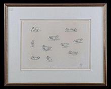 AN ORIGINAL PENCIL-SKETCH OF 'GARGANEY' DUCKS BY J.C. HARRISON,