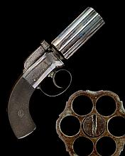 A GOOD 100-BORE PERCUSSION SIX-SHOT 'PEPPERBOX' REVOLVER, UNSIGNED, no visible serial number,