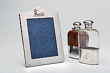FREDERICK PURNELL A VICTORIAN STERLING SILVER AND CLEAR GLASS SPIRIT FLASK,