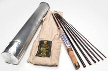 HARDY A GRAPHITE 8FT. 2 1/2IN. SEVEN PIECE SMUGGER DE-LUX FLY FISHING ROD,