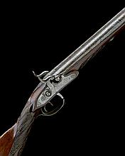 AN 18-BORE PERCUSSION DOUBLE-BARRELLED SPORTING GUN, UNSIGNED, no visible serial number,