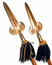 A PAIR OF ENGLISH 'PARTISAN' POLE-ARMS WITH DECORATED AND GILDED BLADES,