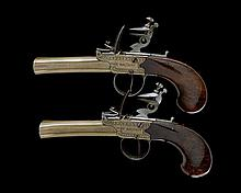 ANNE MARCHOT, BELGIUM A RARE PAIR OF 54-BORE FLINTLOCK BRASS FROG-MOUTHED BLUNDERBUSS PISTOLS, no visible serial number,