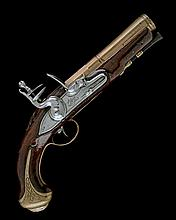 BLAIR, LONDON A SCARCE 20-BORE FLINTLOCK BRASS-BARRELLED FROG-MOUTHED BLUNDERBUSS PISTOL, no visible serial number,