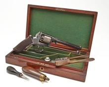 JOSEPH BRAZIER & SON, WOLVERHAMPTON A CASED 54-BORE PERCUSSION FIVE-SHOT REVOLVER, MODEL 'ADAM'S MODEL 1851', serial no. 30245B,