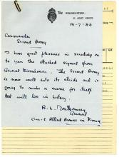 AN IMPORTANT HAND-WRITTEN LETTER FROM MONTGOMERY TO DEMPSEY TOGETHER WITH ACCOMPANYING SIGNAL FROM EISENHOWER,