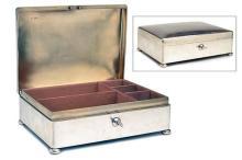 MAPPIN & WEBB A LINED SILVER CIGAR BOX,