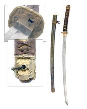 A WORLD WAR TWO SHIN-GUNTO MOUNTED JAPANESE MILITARY KATANA,