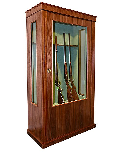 A NEW AND UNUSED GLASS-FRONTED GUN CABINET,