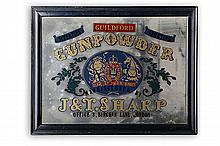 GUILDFORD GUNPOWDER A TRADE MIRROR SIGNED J&T SHARP, LONDON,