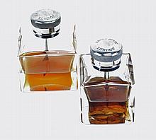 TWO GLASS OIL BOTTLES,