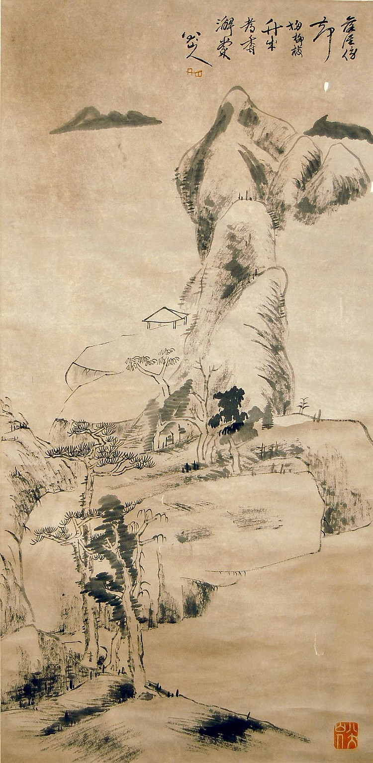 清 朱耷(1626 - 1705)山水靜無人水墨紙本 立軸 Zhu Da Qing Dynasty Scene Landscape