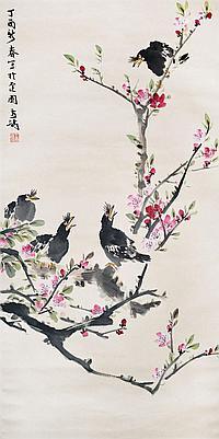 王雪濤 (1903 - 1982) 桃花八哥 Wang Xuetao Mynah on Plum Blossoms
