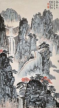 錢松喦 (1899 - 1985) 谿山秋色 Qian Songyan Autumn Landscape