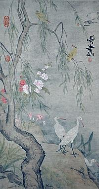 清 閔貞 (1730 - 1788) 柳蔭白鷺圖 Min Zhen Qing Dynasty Egrets under Willow