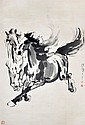 徐悲鴻 (1895 - 1953) 二駿圖 Xu Beihong Two Galloping Stallion