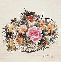 吳冠中 (1919 - 2010) 花卉圖 Wu Guanzhong Flower Basket
