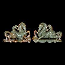 玉雕馬上封侯賞件一對 A Pair of Celadon and Russet Jade Carving of Monkey Riding atop Horse Signifying Success