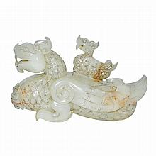 白玉雕龍頭鳥身带盖尊賞件 A Carved Jade Mythical Beast Zun with Dragon Head and Bird Wing-Tail and Cub as Cover