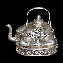 銅鎏銀八吉祥太平有象提樑壺 Silver Plated Elephant Teapot with Bajixiang Base
