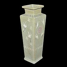朝鮮 李氏皇朝 青釉雲鶴釉裡紅壽字方瓶 Korea, Celadon Square Vase with Flying Cranes and Auspicious 'Shou' Character