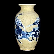 朝鮮 李氏皇朝 青花官窯人馬交戰燈籠瓶 Korea, A Celadon Ground with Underglazed Blue Lantern Vase