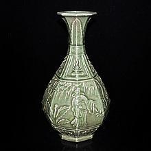 龍泉青釉人物風景八棱瓶 Longquan Celadon Octagonal Vase Carved with Figural Landscape Motif