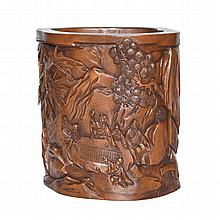 黃楊木浮雕松下山水人物筆筒 A Boxwood Brush Pot Carved with Scholars Under the Pine