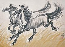 徐悲鴻 (1895 - 1953) 二馬奔騰圖 Xu Beihong Two Racing Stallion