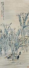 清 黃慎 (1687 - 1768) 花卉鴨子 Huang Shen   Qing Dynasty Ducks at Riverbank