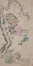 清 沈銓 (1682 - 1762 後) 竹簍鳥巢圖 Shen Quan   Qing Dynasty Birds and Flowers withBamboo Baskets