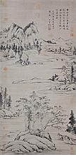 明 董其昌 (1556 - 1636) 楚水吳山圖軸  Dong Qichang  Ming Dynasty Landscape of the Yangtze River Downstream