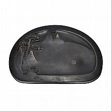 松山映月端硯 Duan Inkstone Exquisitely and Subtly Carved with Pine Tree and Moon Reflections