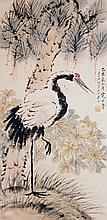 清 虛谷(1824 - 1896)松菊立鶴圖 Xu Gu Qing Dynasty  Crane and Pine