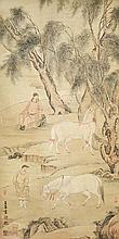 元 趙孟頫(1254 - 1322)效原放馬圖 Zhao Mengfu Yuan Dynasty  Jiao Yuan and Stallions