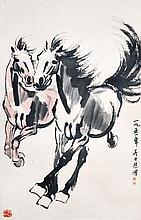 徐悲鴻(1895 - 1953)雙駿圖 Xu Beihong  Galloping Horses