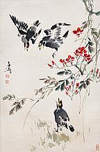 王雪濤(1903 - 1982)八哥花卉圖 Wang Xuetao  Talking Mynah
