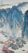 宋文冶(1919 - 1999) 流水繞孤村 Song Wenzhi  Mountain Recluse