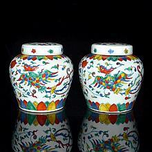 閗彩雙鳳穿花天字罐一對 A Pair of Doucai Phoenix Jar and Cover