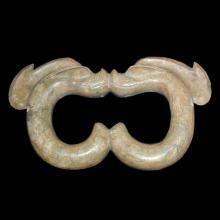 红山文化 玉雕双猪龙环 Neolithic, Hongshan Culture A Large C-shaped Jade Dragon