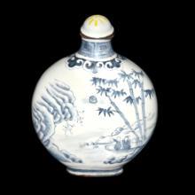 清 青花铜胎画珐琅山水人物鼻烟壶 Qing, A Fine Blue and White on Copper Flask Snuff Bottle